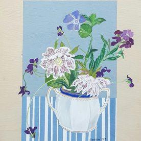 Alexandra Lewisohn Blue & Grey Still Life with Hellebore & Violets SOLD