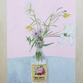 Alexandra Lewisohn Wildflower Still Life with Limoncello Bottle 45 x 30cm  $900