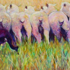 Virginia Farley Go Behind Acrylic on Linen 63 x 106cm $1,900
