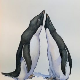 Richard Weatherly Adelie Penguin pair necking Part 2 of Triptych Pen & Ink with wash $1,800