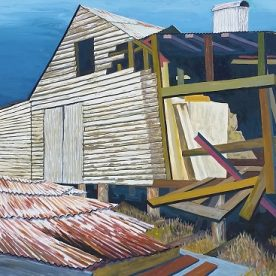 Linda Gallus 'Another Gust of Wind' Acrylic on canvas 50 x 100cm 'This artwork is not for sale. It will form part of a new installation The White Farm: Art, Heritage and the Bellarine opening at the National Wool Museum on 29 April 2021.'