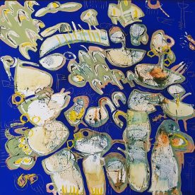 Margaret Delahunty Spencer Arty Party Acrylic, oil pastel & ink on canvas 1020 x 1020mm Framed in sustainable oak $1,500