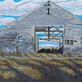 Linda Gallus 'See Through Barn' Acrylic on canvas 50 x 100cm SOLD