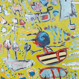 Margaret Delahunty Spencer In love in Byron Acrylic, oil pastel and ink on canvas 600 x 780mm Framed in Black $980