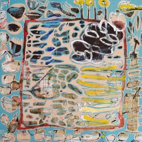 Margaret Delahunty Spencer Postcard from Shelly Beach Acrylic & oil paint, conte stick on canvas 1250 x 1250mm $2,600