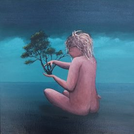 Nathan Wilkinson In her hands Oil on canvas 30 x 30cm Framed $750