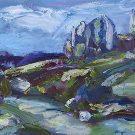 Wendy Jagger Tors and Alpine Stream Oil on board 30 x 40cm Framed $575