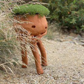 Pattie Beerens Pot Guell Porous terracotta clay nurtured by hand & native Scleranthus biflorus plant $495