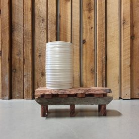 Karen Steenbergen Milk Country Water Tank on Shearing Shed platform Stoneware, glaze and reclaimed redgum $325