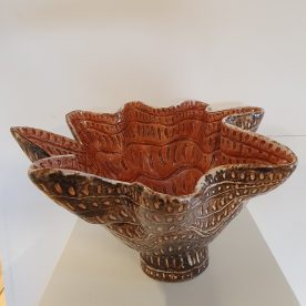 Kirsty Manger Shell Series Bowl, Raku clay, coloured slip, various glazes, 36 x 19.5cm $315