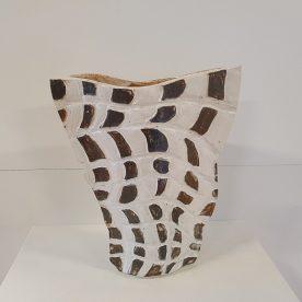 Kirsty Manger Shell Series Vase 1 Raku clay, coloured slip and various glazes 28 x 25 x 9cm, $185 SOLD