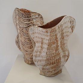 Kirsty Manger Shell Series Vase 2 & 4 Raku clay, coloured slip, various glazes $245 SOLD, $285 SOLD
