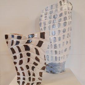 Kirsty Manger Shell Series Vases 1 & 3 Raku clay, coloured slip, various glazes, $185 SOLD $255