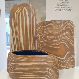 Kirsty Mnager Strata Series Various Clays, blue glaze inside Point Addis, Point Roadknight & Urquart Bluff, $215 $245 SOLD $285