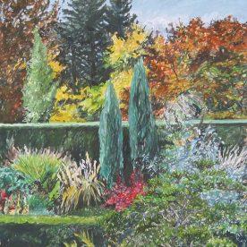 Jo Reitze Across Cloudehill Gardens Gouache on board 68 x 87cm $2200