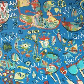 Margaret Delahunty Spencer Fresh Start 2 'the kiss' Acrylic & Ink on canvas 1250 x 1550mm Framed $2,800