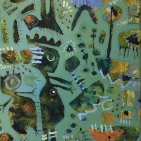 Margaret Delahunty Spencer Nature Girl Acrylic & ink on canvas Framed 640 x 530mm $680