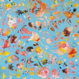 Margaret Delahunty Spencer Pink Bits 1 Acrylic & Ink on canvas 880 x 880mm Framed $880