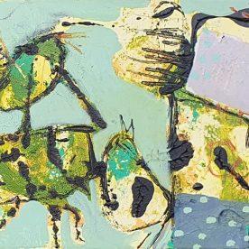 Margaret Delahunty Spencer Meg's Pjamas battling the dark side 2 Acrylic & Ink on Canvas 340 x 440mm Framed $620