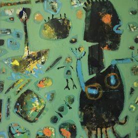 Margaret Delahunty Spencer Spider Girl & Ant Boy Acrylic & ink on canvas Framed 640 x 530mm $680