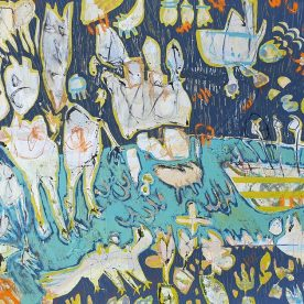 Margaret Delahunty Spencer The Worriers Acrylic & Ink on canvas 900 x 980mm Framed $1,280 SOLD